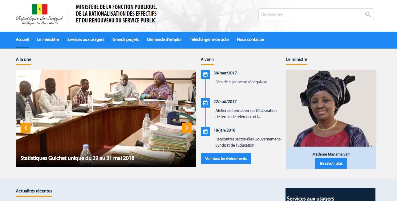 fonctionpublique.gouv.sn Recrutement 2017 En Fonction Publique au Sénégal Emploi Ministère Sn inscription liste des actes locale avancement