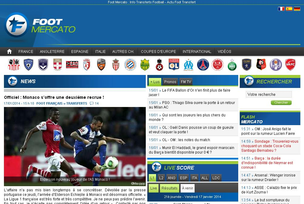 footmercato.net Foot Mercato Info Transferts Football 365 Live Réal OM PSG Arsenal Chelsea