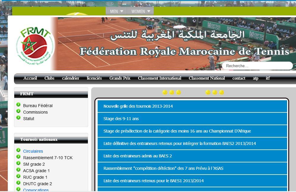 frmt.ma Fédération royale marocaine de tennis Club classement ma