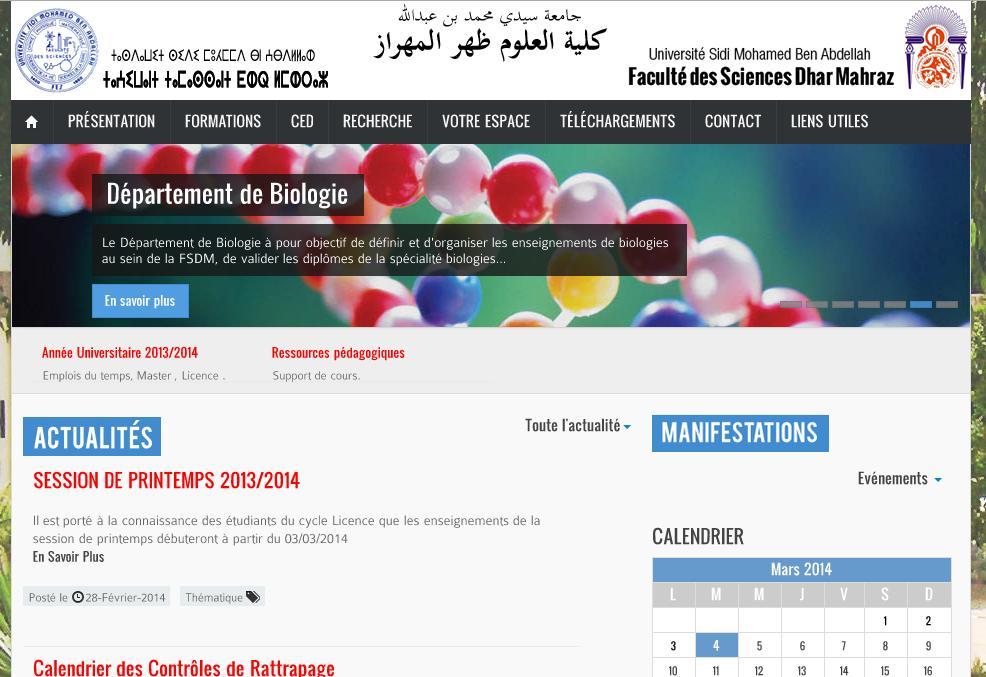 fsdmfes.ac.ma Faculté des sciences Dhar El Mahraz Fès Maroc université licence