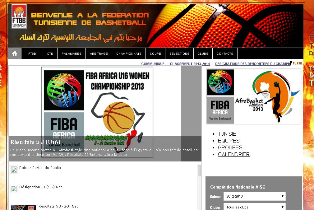 ftbb.org.tn Fédération Tunisienne de Basket Ball tn résultats équipe national match