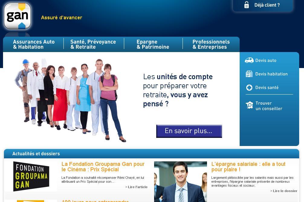 gan.fr Assurance Mutuelle auto assurance habitation complémentaire santé vie