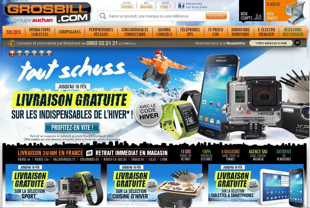 grosbill.com Magasin Info Achat vente de matériel informatique High Tech Code Promo