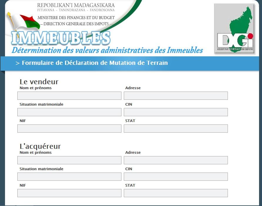 immo.impots.mg Direction Générale Des Impôts fonciers Madagascar DGI mg service immobilier Déclaration Fiscal impot gouv