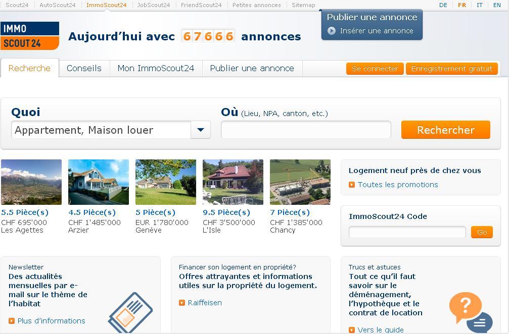immoscout24.ch Annonces immo Suisse Appartements maison en ligne schweiz scout24