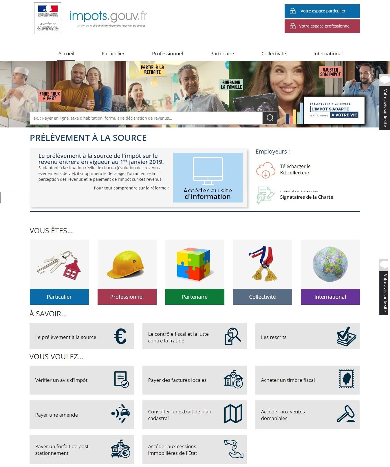 impots.gouv.fr Impôts prélèvement à la source et revenu
