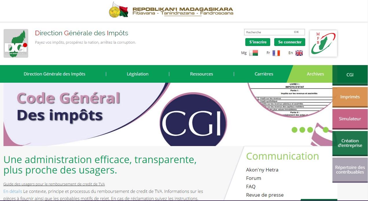 impots.mg Direction Générale Des Impôts Madagascar DGI mg service centre des finances publique Déclaration Fiscal impot gouv nif irsa