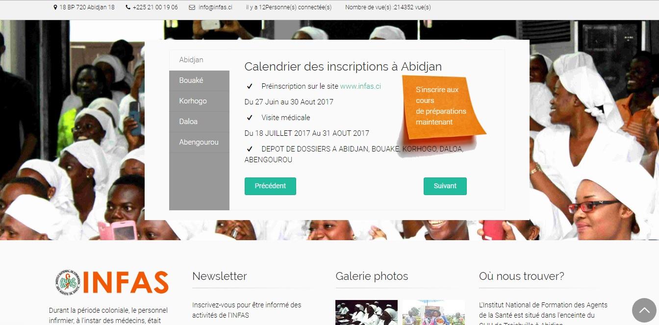 infas.ci Institut National de Formation des Agents de Santé Côte d'Ivoire Préinscription concours 2017 2018