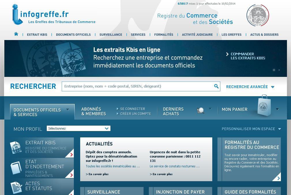 infogreffe.fr Registre du commerce et des sociétés Greffe du tribunal de commerce Kbis