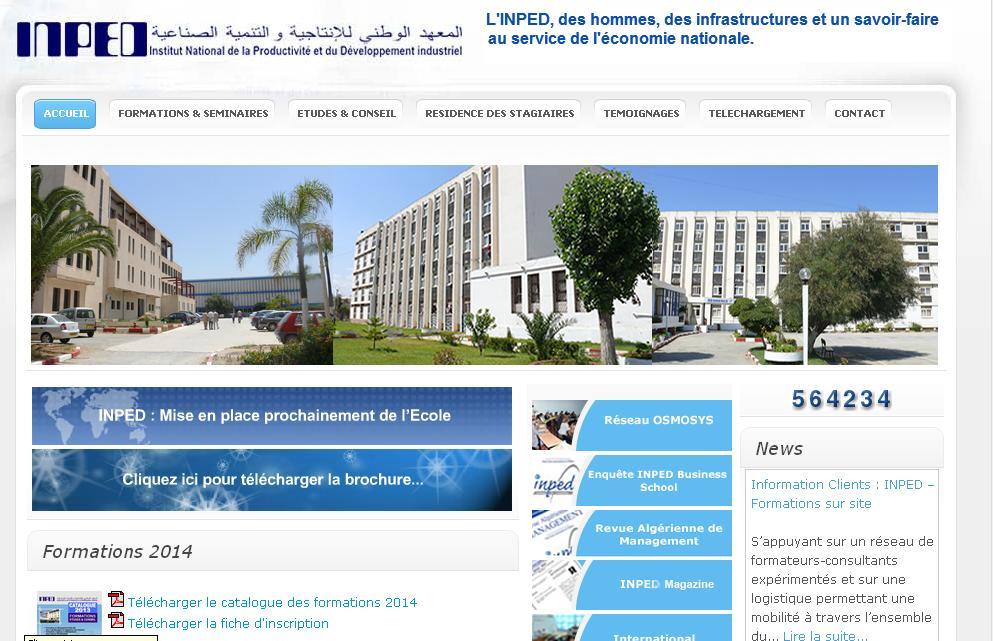 inped.edu.dz Institut National de la productivité et du développement industriel Algérie Boumerdes formation en ligne