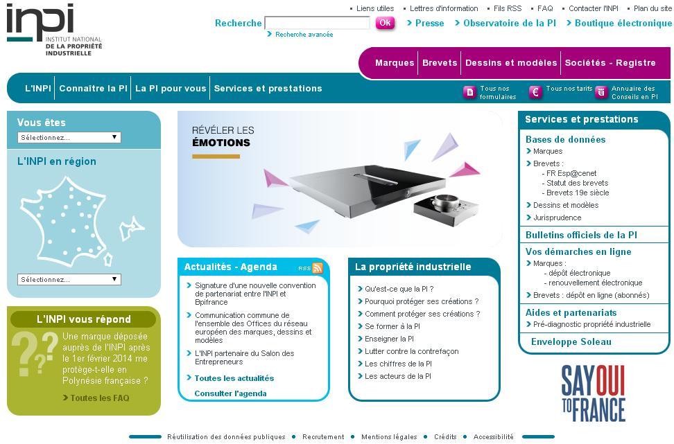 inpi.fr Propriété industrielle dépot de marques brevets nom de société modèles