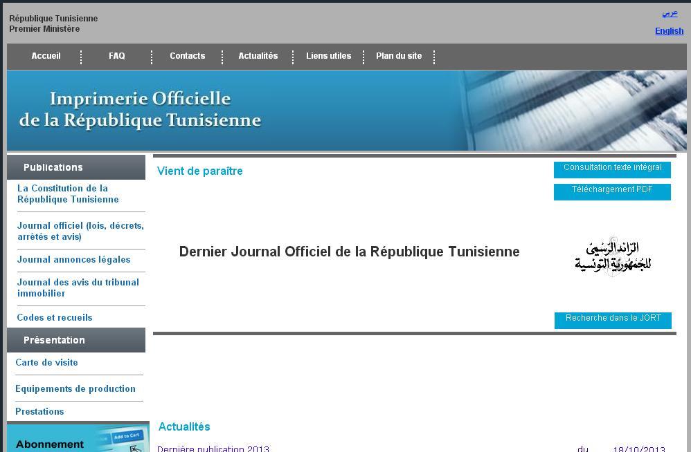 iort.gov.tn Journal Officiel de La Tunisie Imprimerie Officiel JORT jort$ Dostour