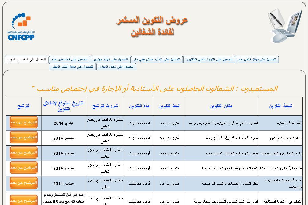 ipst.edunet.tn Centre National de Formation Continue et de Promotion Professionnelle Edunet CNFCPP Tunisie inscription paiement offre