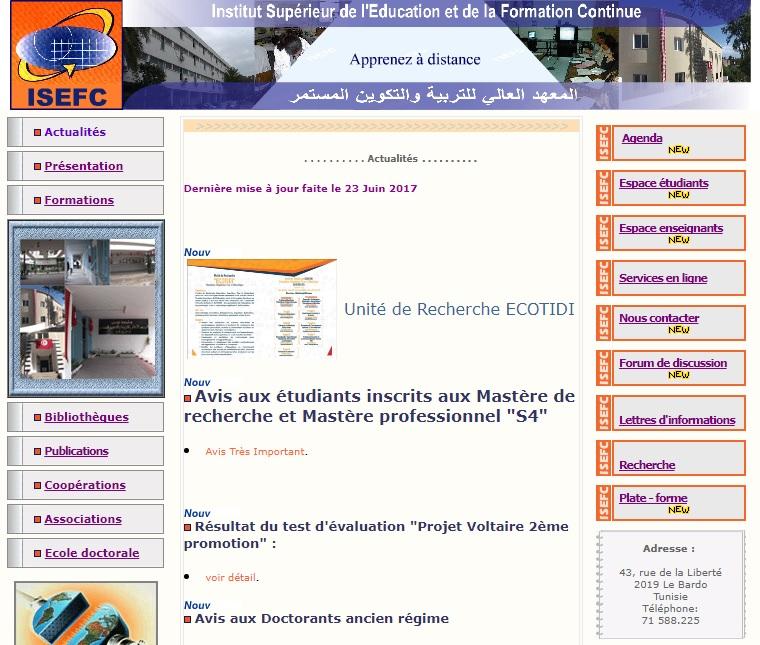 isefc.rnu.tn Institut Supérieur de l'Education et de la formation Continue Bardo Tunis Tunisie