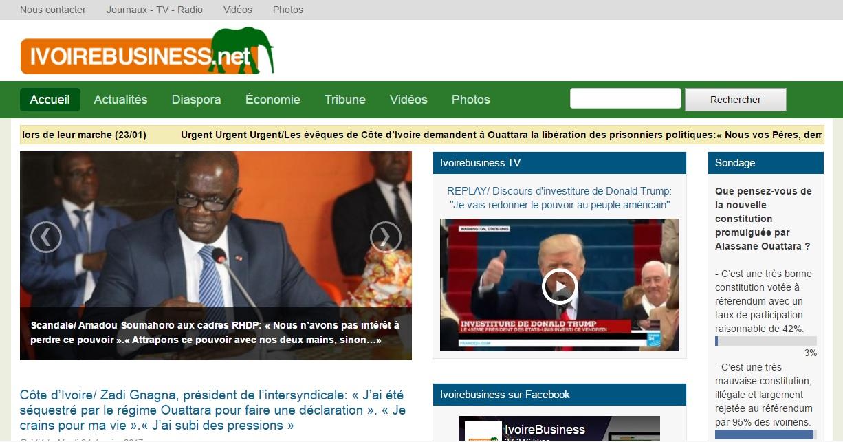ivoirebusiness.net Journal ivoire business actualité du jour au cote d'ivoire titrologie wattao ci