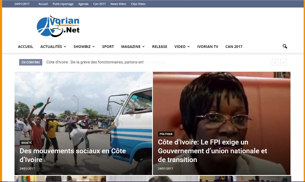 ivorian.net Journal ivorian ivoirien actualité du jour au cote d'ivoire titrologie d'aujourd'hui abidjan ci