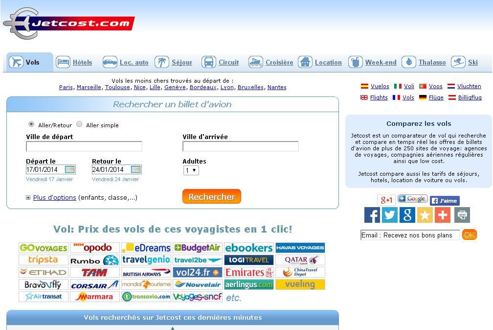 jetcost.com Comparateur : Billet d'avion et Vol pas cher, vol sec, hôtels