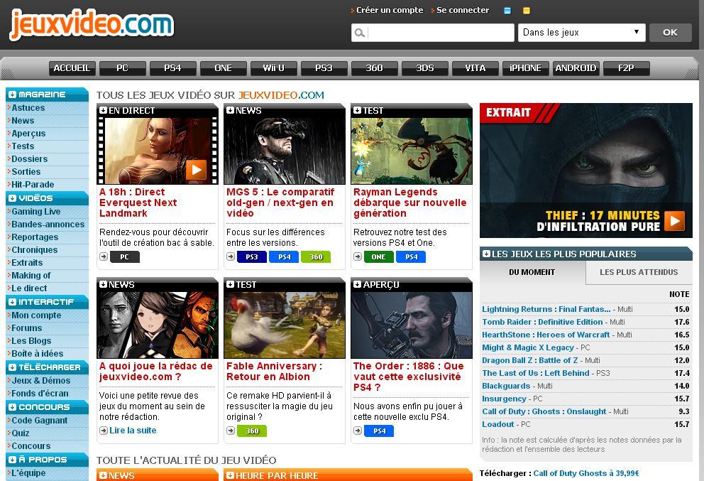 jeuxvideo.com Jeux vidéo sur PC et Consoles forum magazine minecraft flash lol ps4