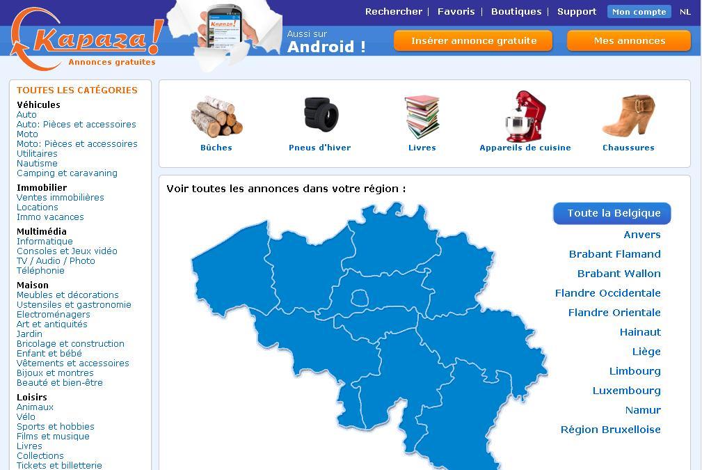 kapaza.be Petites annonces en Belgique