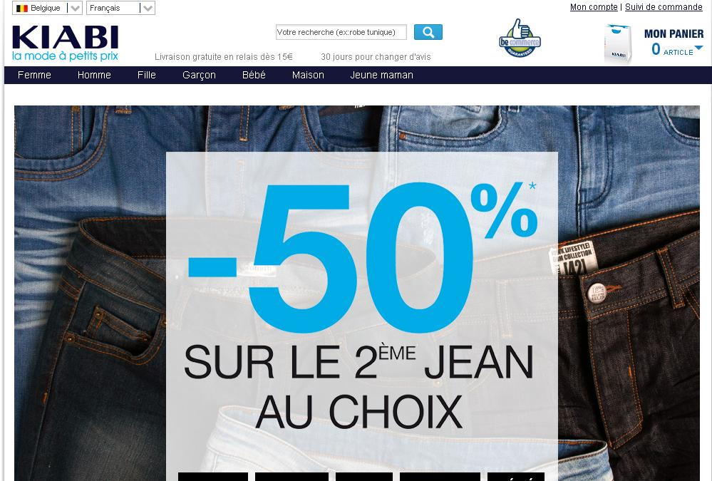 kiabi.be Boutique en ligne vetement code promo soldes casting horaire halle pour enfants pas cher belgique