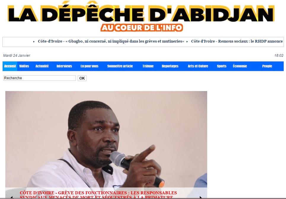 ladepechedabidjan.info Journal la depeche d'abidjan actualité du jour au cote d'ivoire titrologie d'aujourd'hui abidjan ci