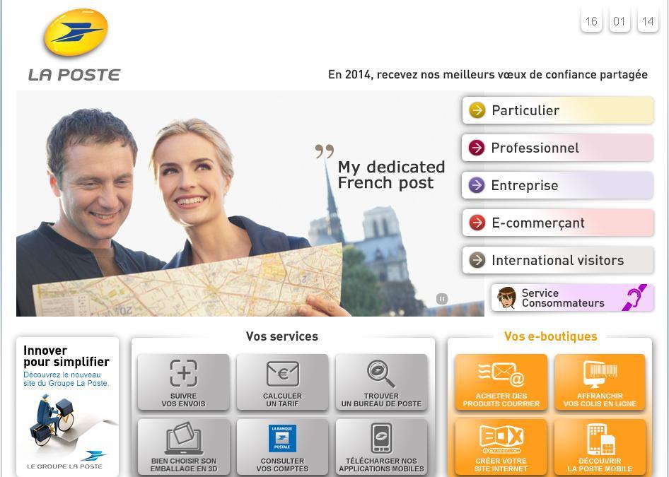 laposte.fr La Poste française envoi de courrier et de colis, achats et paiement en ligne