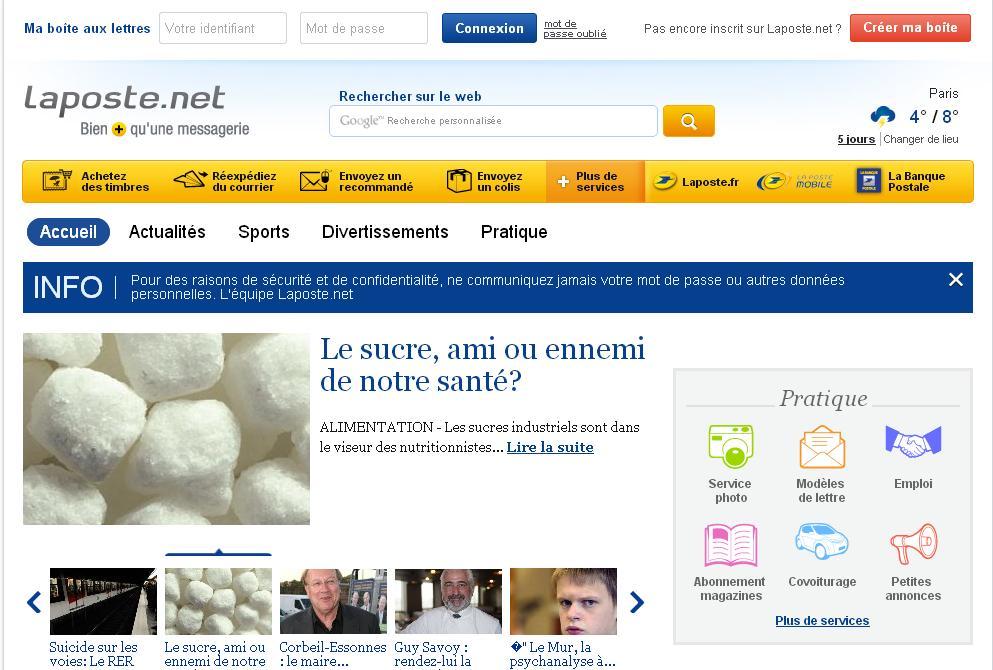 laposte.net Portail d'info La Poste France adresse mail gratuit