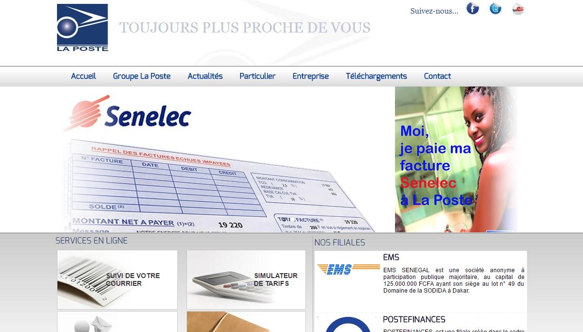 laposte.sn La Poste du Senegal Colis transferts d'argents concours gov