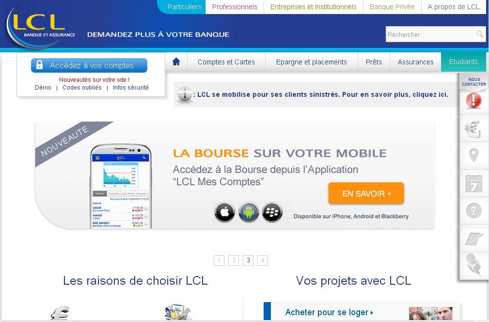 lcl.fr Le Crédit Lyonnais Banque en ligne Assurance mutuelle LCL caisse épargne pro interactif acées client jeune