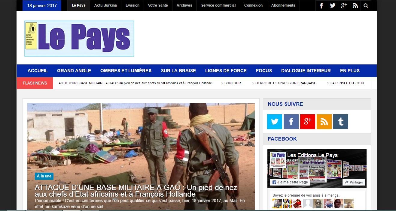 lepays.bf Quotidien Hebdo Le Pays Burkina Faso archive evasion Journal