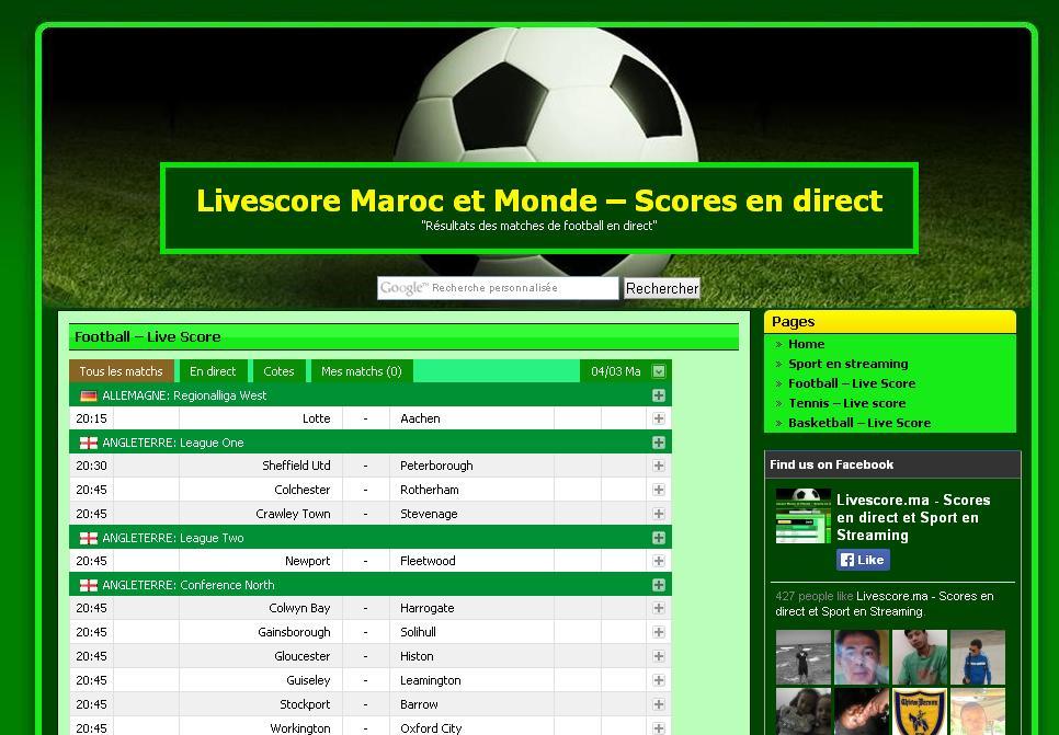 livescore.ma Live score Résultats sport Maroc Foot classement vidéos but score en direct