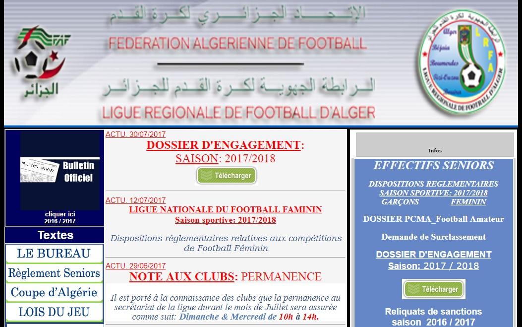 lrfa.org.dz Ligue Régionale de Football d'Alger wilaya Algérie calendrier 2017
