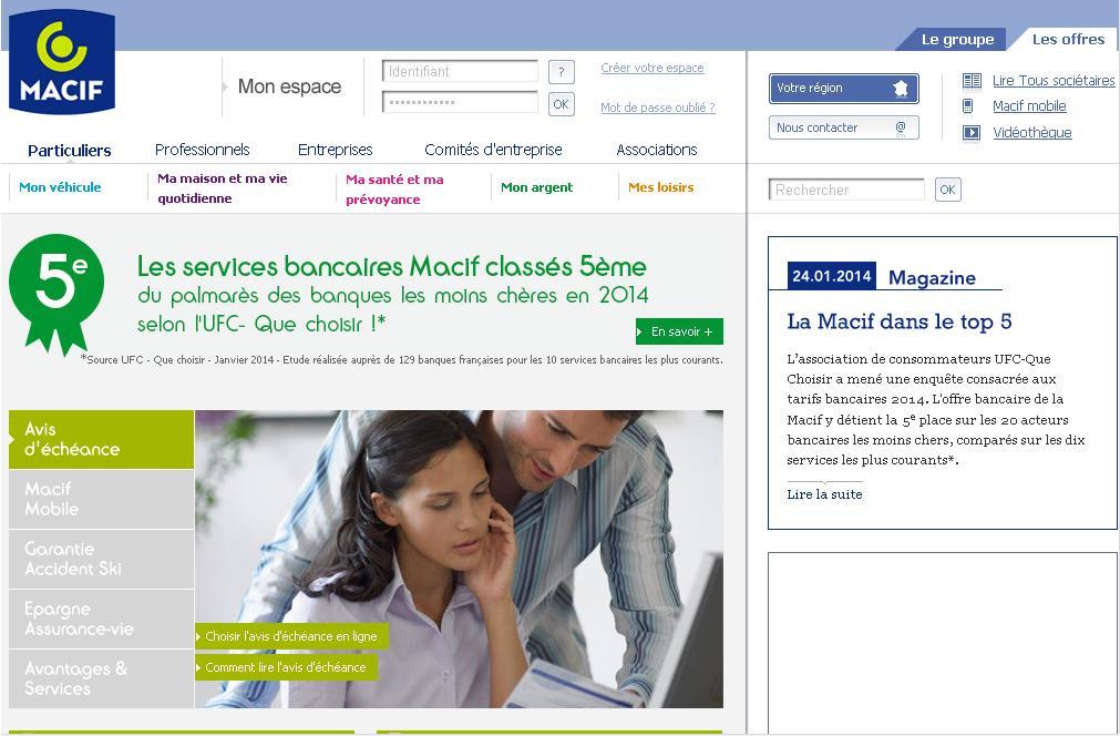 macif.fr Assurance auto habitation moto santé mutualité Mutavie Sinistre