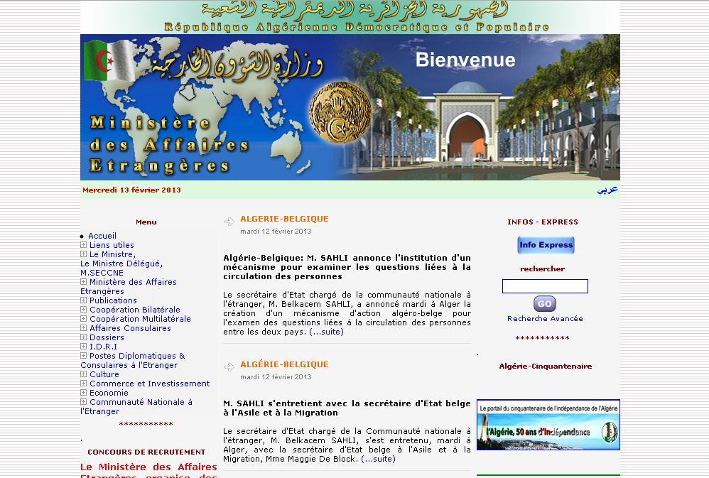 mae.dz Ministère des Affaires étrangères Algérienne