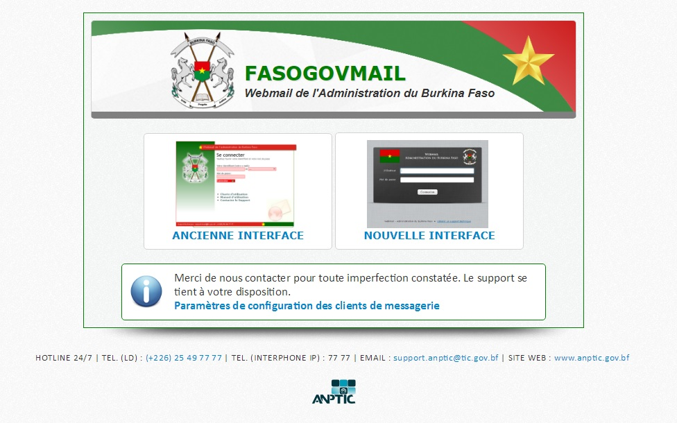 mailer.gov.bf Webmail Burkina Faso Administration boite mail gov daemon inbox