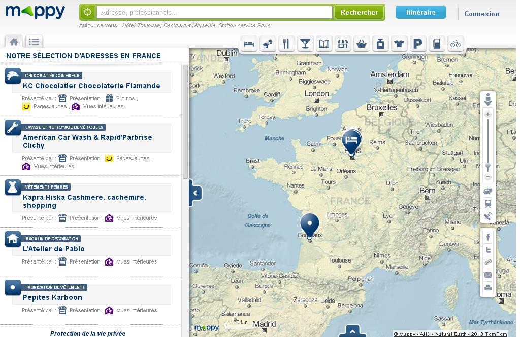mappy.com Maps Plan itinéraire et bonnes adresses carte de France Europe Belgique
