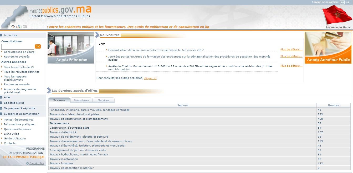 marchespublics.gov.ma Marchés Publics au Maroc Dossiers Appels d'offre en arabe demat télécharger cahier des charges