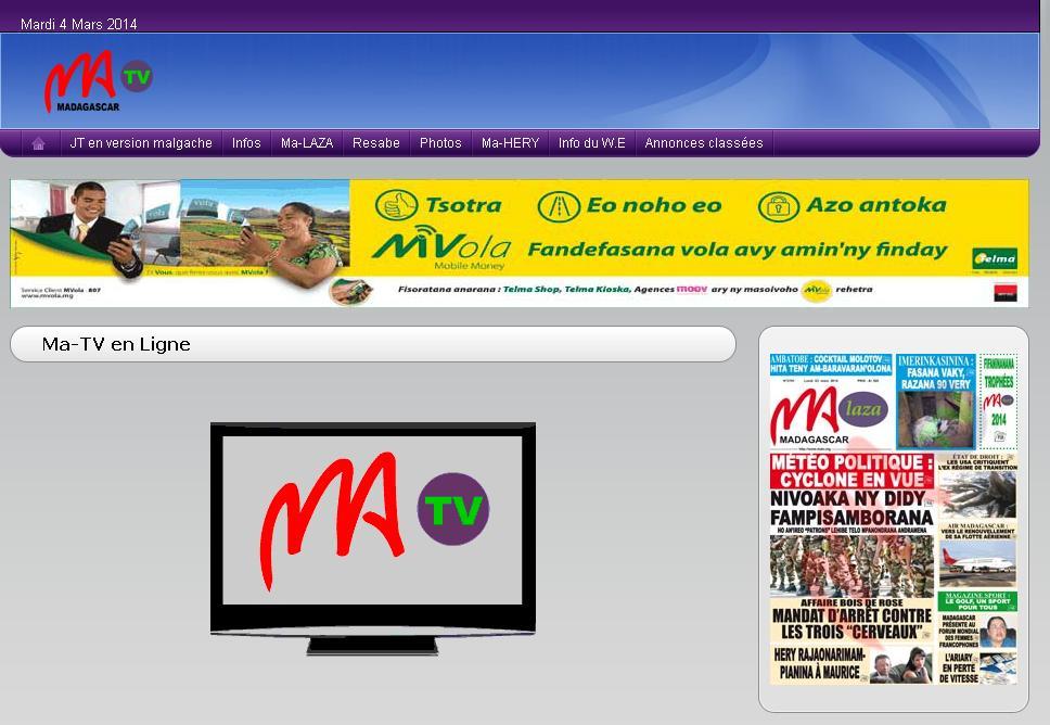 matv.mg Chaine Ma TV en Ligne Madagascar MaTV replay live
