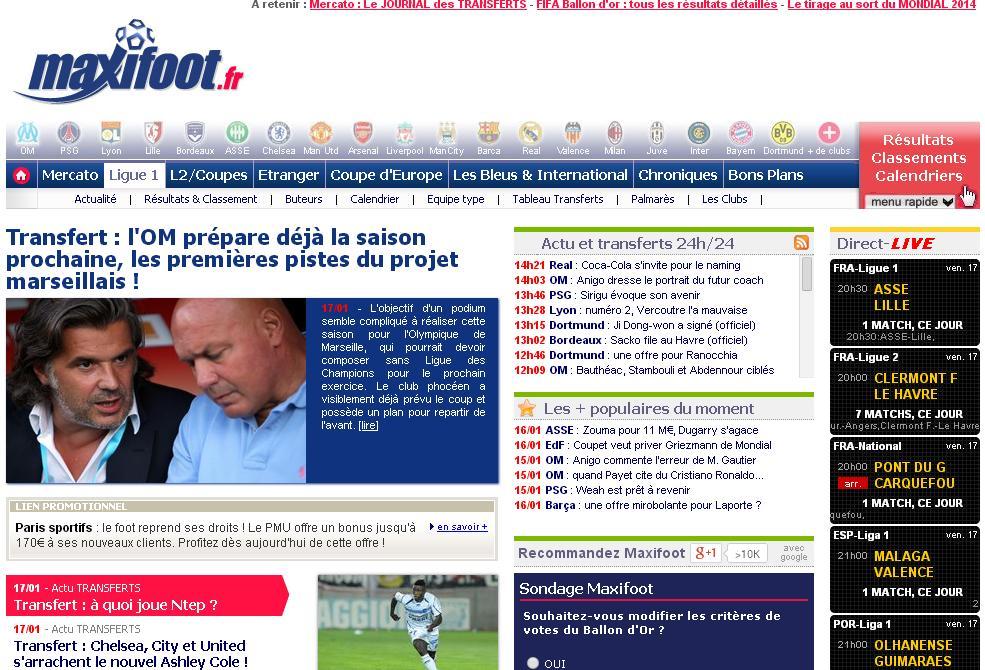 maxifoot.fr Football Maxi foot Actualité Sport Transfert Match en direct résultats en ligne France