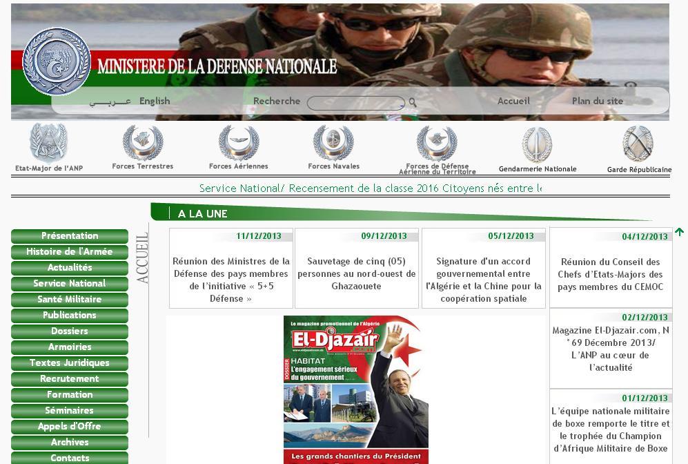mdn.dz Ministère de la Défense Nationale Algérienne
