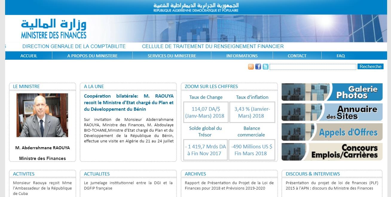 mf.gov.dz Ministère de finance Algérie wizarat malya