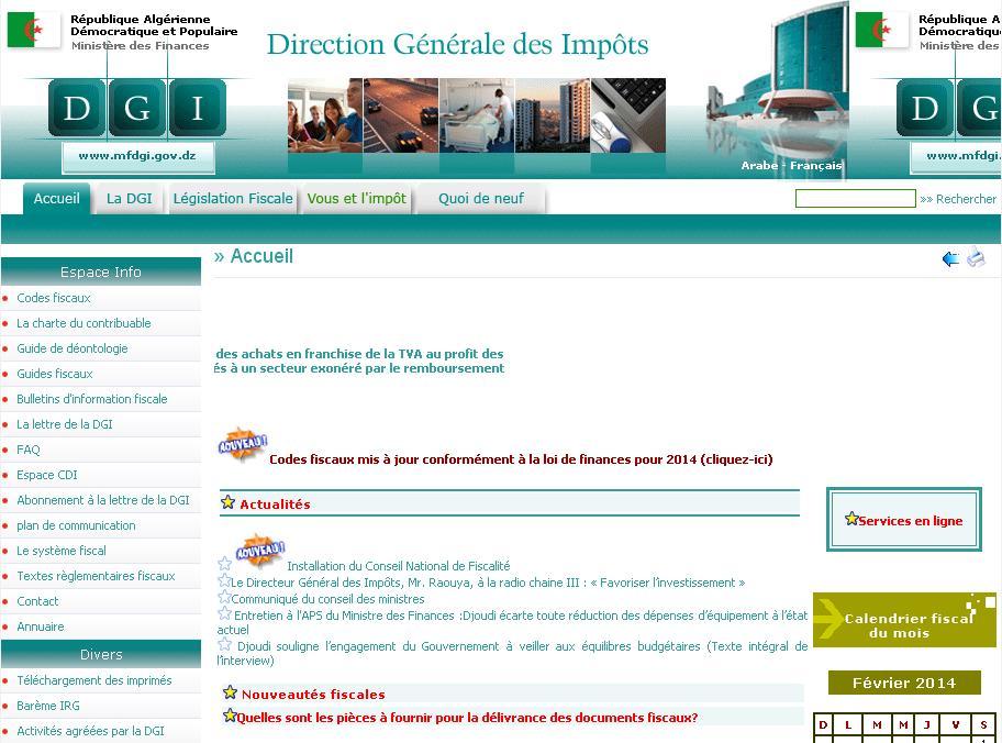 mfdgi.gov.dz Direction générale des impôts DGI Algérie Tva ibs tap