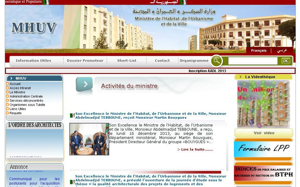 mhuv.gov.dz Ministère de l'habitat et de l'urbanisme Algérie