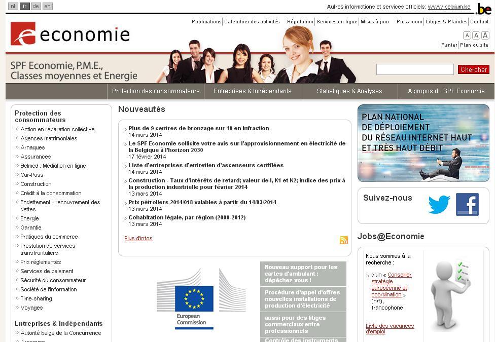 mineco.fgov.be économie et maîtrise de l'énergie en Belgique FOD SPF Statbel bce entreprises housing