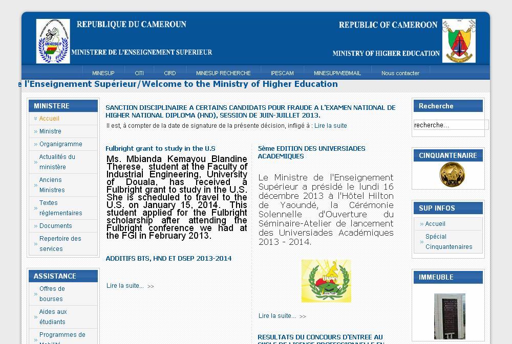 minesup.gov.cm Ministère de l'Enseignement Supérieur Cameroun