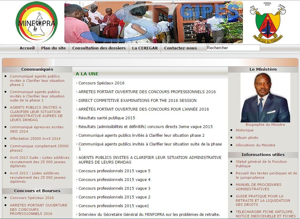 minfopra.gov.cm Ministère de la Fonction Publique et de la Réforme Administrative au Cameroun concours sigipes position du dossier liste fiche inscription
