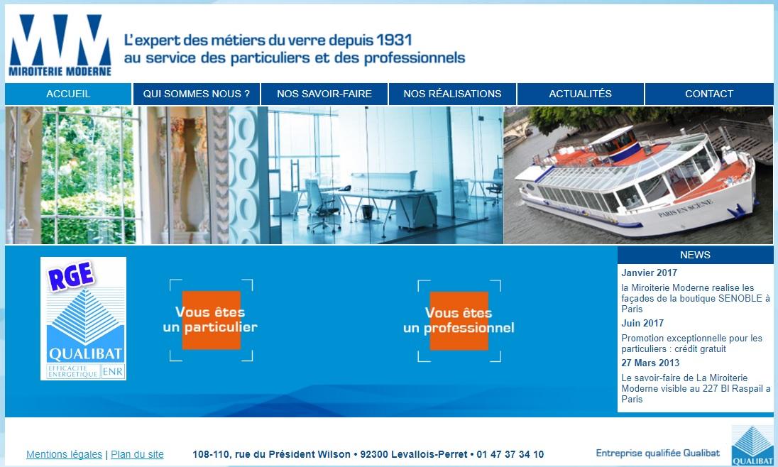 miroiterie-moderne.com MiroiterieModerne L'expert des métiers miroitier du verre et miroir France paris clichy de poissy 92 87