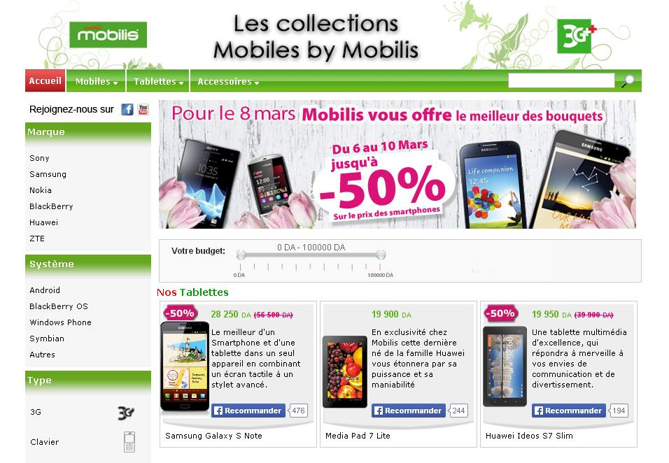 mobilesbymobilis.dz Boutique en ligne de Mobiles chez Mobilis Algérie offre smartphone tablette téléphonie portable forfait