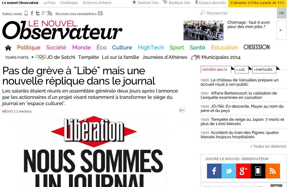 nouvelobs.com Le Nouvel Observateur Actualités Info à la Une News Blog TV Sport Obs France
