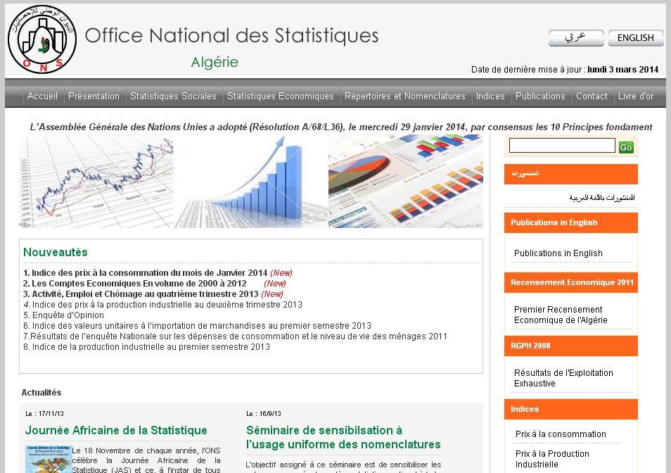 ons.dz Office National des Statistiques Algérie population économiques bac bem stat